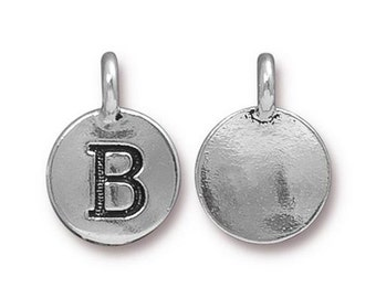 "Letter ""B"" Initial Pendant Tiny Silver Charm TierraCast Antique Silver Alphabet Charms Lead Free Pewter 16.5x11.5mm One Charm F293"