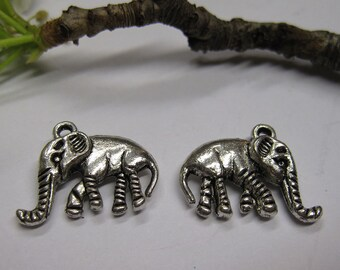 10 Antique Silver Pewter Double Sided Elephant Charms 20x15mm C187
