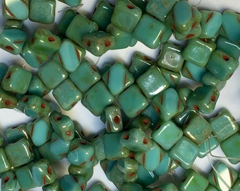 Turquoise Green Blue Picasso Two Hole Silky Czech Pressed Glass 6mm Two Hole Angled Square Beads 25 pcs