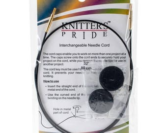32 Inch Knitters Pride Interchangeable Circular Knitting Needle Cables Black Single Pack 80 cm