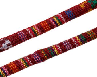 Cotton Jewelry Rope Native Ethnic Cotton Cord 6.0mm Red Multi 2 ft