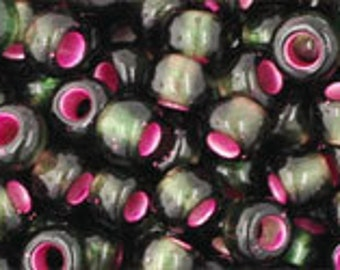 6/0 Silver Lined Frosted Olivine Pink Lined Toho Glass Seed Beads 2.5 inch tube 8 grams TR-06-2204