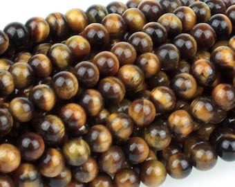 Tiger Eye 4mm Gemstone Rounds Approx 45 beads 8 Inch strand