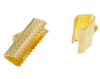 20 Gold Plated Steel Textured Ribbon Clamp Clasps Crimp End Clasps with Loop 16mm F148