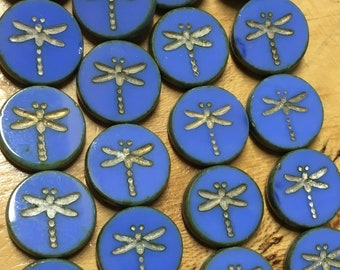 4 Cornflower Blue Chunky Czech Pressed Glass Carved Dragonfly Coin Table Cut Beads with Picasso Finish 17mm