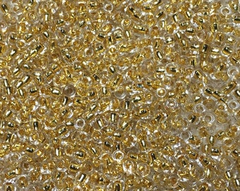 11/0 Gold Lined Transparent Japanese Glass Rocaille Seed Beads 6 inch tube 28 grams MR-11-465A