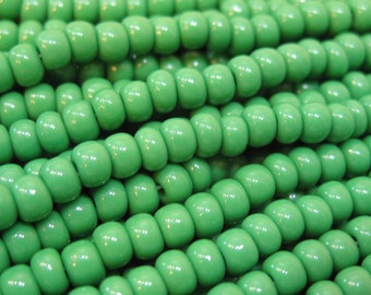 6/0 Green Opaque Preciosa Czech Glass Rocaille Seed Beads 6 Strand Half Hank 78 grams