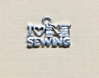 I Love Sewing Silver Plated Charm Pendant Love to Sew 18x13mm Made in the USA One Charm