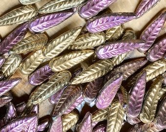 Bird Feather Vitrail Pink Purple Gold Czech Pressed Glass Beads 5x17mm 20 pcs