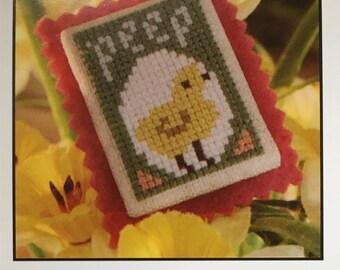 Baby Chick Peep Spring Mini Cross Stitch Sampler Pattern The Prairie Schooler 2008