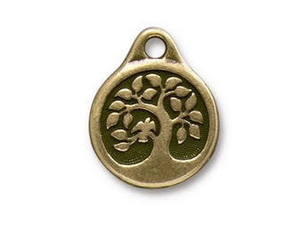 2 Bird in a Tree Oxidized Brass Charms Double Sided TierraCast Lead Free Pewter 16mm x 19.5mm 2 pcs