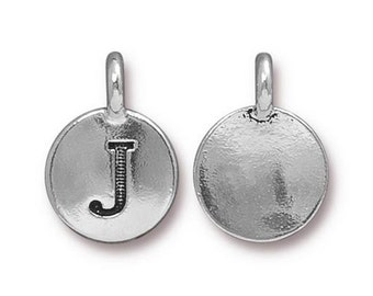 "Letter ""J"" Initial Pendant Tiny Silver Charm TierraCast Antique Silver Alphabet Charms TierraCast Lead Free Pewter 16.5x11.5mm One Charm"