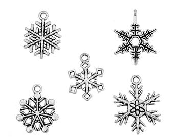Snowflake Charms Mixed Sizes Charms Antique Silver 19x16mm to 25x19mm 10 pcs C159