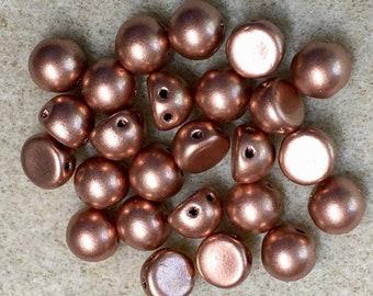 Matte Metallic Copper CzechMates 7mm Cabochon Glass Beads 24 beads