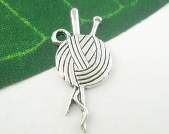 10 Yarn Ball Knitting Needles Charms Pendants Single Sided Knitting Charm Antique Silver 26mm x 11mm C182