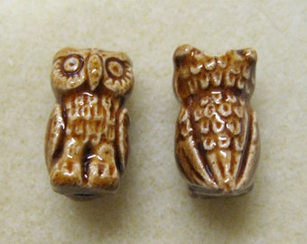 Owl Beads Brown Large Hole Peruvian Ceramic Owl Beads 18mm 2 Beads