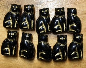 Sitting Kitty Cat Czech Pressed Glass Beads Black with Gold Detail Double Sided 15mm 10 beads