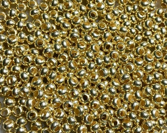 6/0 Gold Plated 100% Brass Round Seed Beads Made in the USA Approx 10 grams