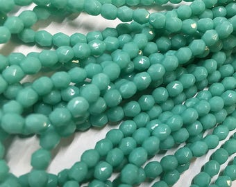 50 Green Turquoise Opaque Preciosa Czech Glass Fire polished Crystal Beads 4mm Approx 50 beads