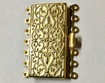 Gold Plated 7 Strand Vintage Style Box Clasp 36x26mm 1 pc F548C