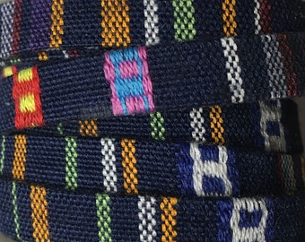 Native Ethnic Cotton Cord 6.5mm Dark Navy Blue Multi Flat Fabric Cord 1 yard cut