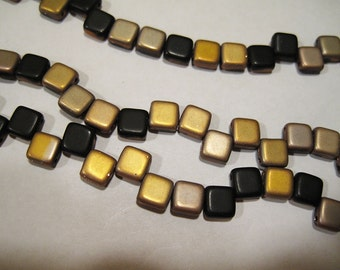 Frosted Jet Capri Czech Mates Two Hole Tile Beads Czech Pressed Glass Square Beads 6mm