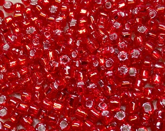 6/0 Silver Lined Light Red Japanese Seed Beads 6 Inch Tube 28 grams #11