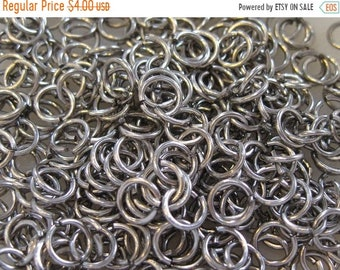 CYBER SALE 100 Jump Rings Antique Silver 8mm Open Unsoldered Brass Jump Rings 18 ga F104B