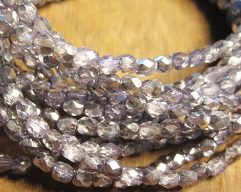 Light Amethyst Mirror Czech Glass Fire polished Crystal Beads 4mm
