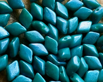 GemDuo Tropical Rainforest Two Hole Gem Duo Czech Glass Beads 5x8mm 65 beads
