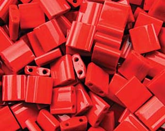 Red Opaque Miyuki 5mm Square Two Hole Tila Beads 7.2 grams