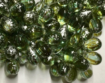 25 Jade and Yellow Gold with Silver Finish Czech Pressed Glass Teardrop Beads 6mm x 9mm