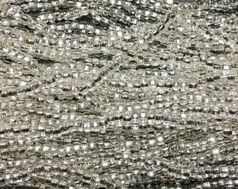 1/0 Silver Lined Crystal Large Hole Czech Glass Seed Beads Big Seeds One Strand