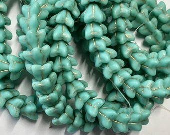 Sea Green Opaque with Gold Matte Wash Czech Pressed Glass 5 Petal Star Flower Beads 6mm x 9mm 25 beads