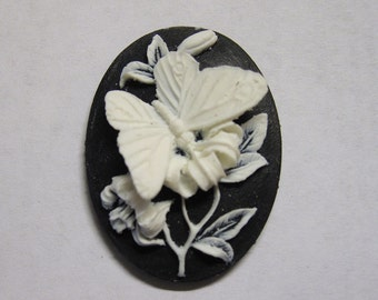 White Butterfly Acrylic Resin Cameo with Black Background Jewelry Cabochon Pendant 40mm x 30mm