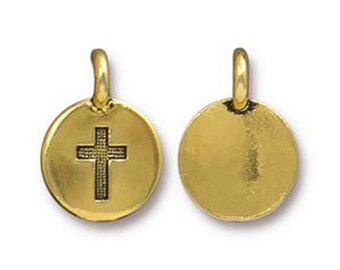 Cross Charm Religious Antique Gold Cross Charm TierraCast Lead Free Pewter 17mm x 12mm One charm