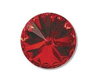 14mm Swarovski 1122 Light Siam Red Foiled Faceted Rivoli Stone Beads 1 pc
