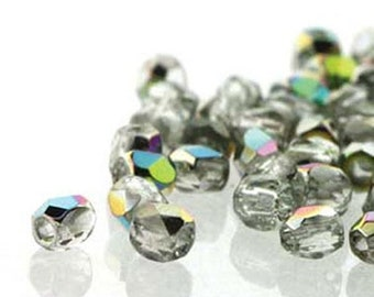 ON SALE Crystal Vitrail 2mm True Fire Polish Czech Glass Crystal Beads 50 beads