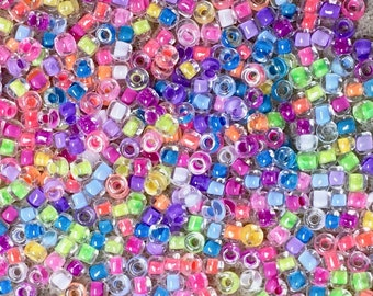 8/0 Neon Multi Mix Japanese Glass Rocaille Seed Beads 6 Inch tube 28 grams