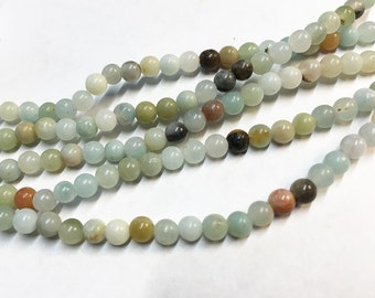 Amazonite Multi Colored Gemstone Rounds 4mm 8 inch strand Approx 45 pcs per strand