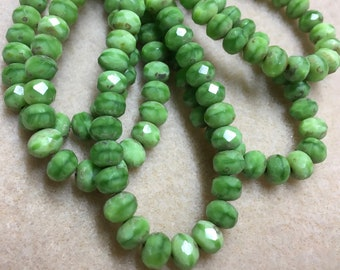 Mantis Green Czech Pressed Glass Large Faceted Rondelles with Picasso 5mm x 7mm 25 beads