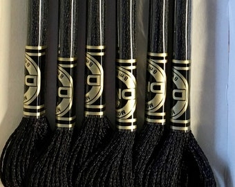 DMC E310 Ebony Metallic Light Effects Embroidery Floss 1 Skein 6 Strand Thread for Embroidery Cross Stitch Sewing Beading
