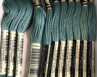 DMC 502 Blue Green Embroidery Floss 2 Skeins 6 Strand Thread for Embroidery Cross Stitch Needlepoint Sewing Beading