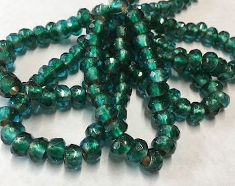 Emerald Copper Lined Czech Pressed Glass Large Hole Faceted Roller Beads 6mm x 9mm 25 beads