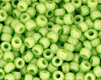11/0 Opaque Sour Apple Green Toho Glass Seed Beads 2.5 inch tube 8 grams TR-11-44