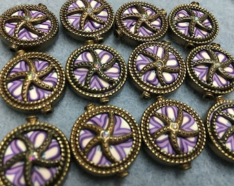 Purple White Polymer Clay with Rhinestone Centers Antique Brass Detail Double Sided Flat Round 19mm 2 beads