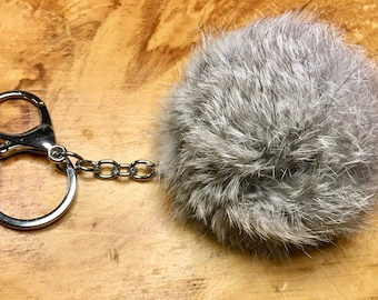 Grey Angora Fur Pom Pom Ball with Key Ring and Lobster Clasp for Craft Projects Hat Decoration Knitting Crochet 78mm