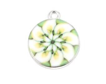 "Glass Buddhism Mandala Charms Silver tone Round Multicolor 22mm ( 7/8"") x 18mm ( 3/4"") 2 pcs F240A"