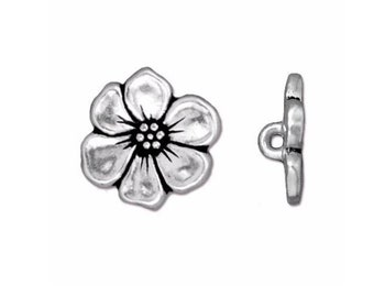 TierraCast Antique Silver Plated Apple Blossom Button 15.75mm x 5mm One button Made in the USA