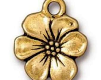 TierraCast Antique Gold Apple Blossom Charm 17mm x 14mm One charm Made in the USA F563C
